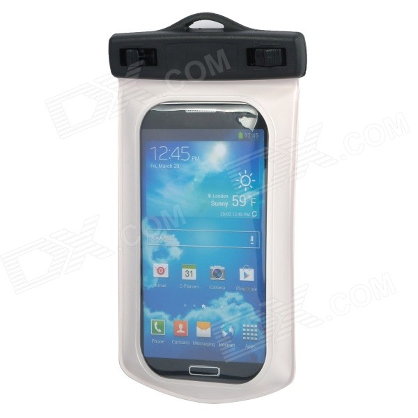 Waterproof Protective PVC Bag w/ Strap + Armband for Samsung i9500 - Black + White