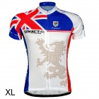 Spakct Bicycle Cycling Polyester Short Sleeves Jersey - White + Red + Blue (Size-XL)