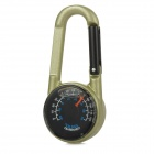 Outdoor Multifunction Zinc Alloy Dual-side Analog Compass w/ Thermometer Carabiner - Champagne