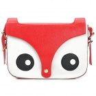 Fashion Fox Head Pattern Lady's PU Shoulder Bag - Black + White + Red