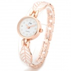 Elegant Zinc Alloy Leaf Chain Lady's Quartz Wrist Watch - White + Rose Golden (1 x 377)