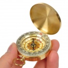 Aluminum Alloy Glow-in-the-Dark Compass w/ Keychain - Golden Yellow