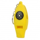Multifunction Whistle w/ Analog Compass + Thermometer + Folding Magnifier + Keyring - Yellow