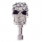 Stylish Skull Style Rhinestone + Albronze 3.5mm Anti-Dust Plug for Iphone 4S + More -Silver