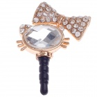 Love Beautiful Kitten Shape Rhinestone + Albronze 3.5mm Anti-dust Plug for iPhone 4S + More - Golden