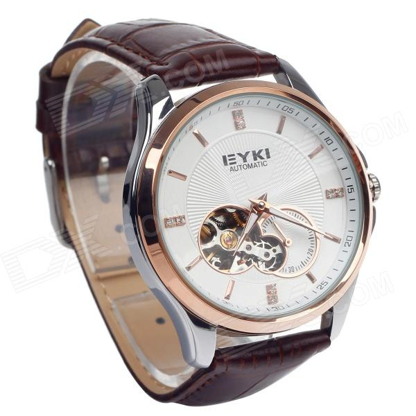 EYKI EFL8629G Retro PU Leather Band Self-Winding Mechanical Wrist Watch - Brown + White + Golden solid scrub stainless steel brushed black gold silver rose gold finished watch band clasp buckle watchbands 16 18 20mm 24mm 26mm
