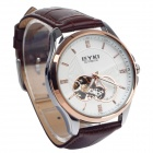 EYKI  EFL8629G Retro PU Leather Band Self-Winding Mechanical Wrist Watch - Brown + White + Golden