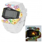 SKMEI 0982A Fashion Flowers Aircraft Shaped Digital LED Wrist Watch - White (1 x CR2023)