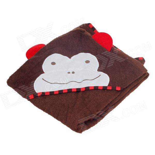 Kids' Cute Cartoon Monkey Style Cotton Bath Towel w/ Hood - Brown + White + Red