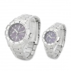 Jakarta 48696G/L Stainless Steel Couple Quartz Wrist Watches - Silver (1 x CR2032 / Pair)