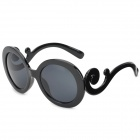 5001 Fashion UV400 Protection Lady's Round Sunglasses - Black