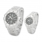 Jakarta 48696G/L Stainless Steel Couple Quartz Wrist Watches - Silver + Black (1 x CR2032 / Pair)