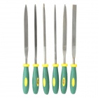 WLXY 4X160X6PC-571112 6-in-1 Professional PVC Bearing Steel Files Set - Deep Green + Yellow + Black