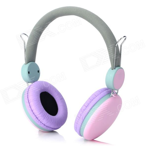 Sound Intone Stylish Wired Headphones w/ Microphone for Iphone / Ipad - Pink + Purple (145cm) stylish headset w microphone volume control for dell mini 5 streak 3 5mm jack 120cm cable