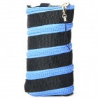 Unique Zipper Protective PP Pouch w/ Strap for Iphone / Cellphone + Black + Blue