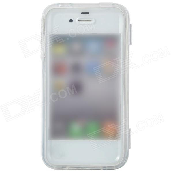 Protective Flip-open TPU Case for Iphone 4 / 4S - Translucent White protective silicone case for nds lite translucent white