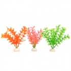 A031 Aquarium / Fish Tank PVC Simulation / Artificial Water Plants - Green + Pink + Orange (3 PCS)