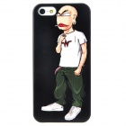Fashionable Boy Pattern Matte Frosted Protective Plastic Back Case for Iphone 5 - Black + White