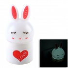 YH-111 Cute Rabbit Small Optically-Controlled 0.7W White Light Night Lamp - White + Red (110~250V)