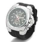Rubber Band Analog Quartz Wrist Watch for Men - Black + Silver