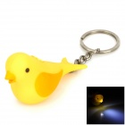 Mini Bird Style Keychain w/ White Light LED Flashlight - Yellow (3 x AG10)