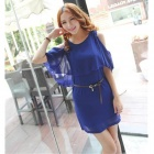 Off-The-Shoulder Batwing Sleeve Chiffon Dress - Royal Blue (Size L)
