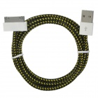 USB to 30-Pin Sync Data/Charging Woven Cable for iPhone 4 / 4S - Yellow + Black