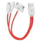 USB Male to Lightning 8-Pin / 30-Pin / Micro USB Male Charging Cable - Red + White