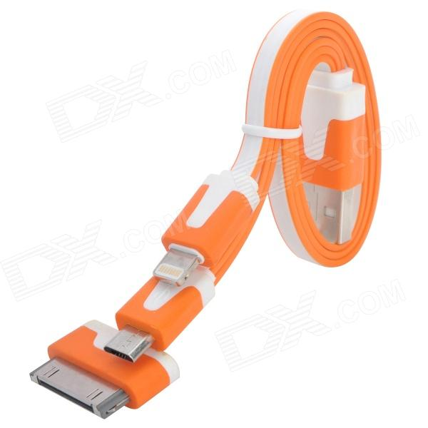 USB-zu-8-Pin Blitz / 30-Pin / Micro USB Charging Flachbandkabel für iPhone / Samsung / HTC - Orange