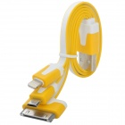 USB to 8-Pin Lightning / 30-Pin / Micro USB Charging Flat Cable for iPhone / Samsung / HTC - Yellow