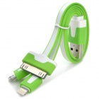 USB to 8-Pin Lightning / 30-Pin / Micro USB Charging Flat Cable for iPhone / Samsung / HTC - Green