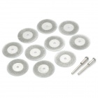 30mm Electroplated Carborundum Dry & Wet Dual-purpose Cutting Disc Set - Silver (10 + 2 PCS)
