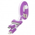 USB to 8-Pin Lightning / 30-Pin / Micro USB Charging Flat Cable for iPhone / Samsung / HTC - Purple