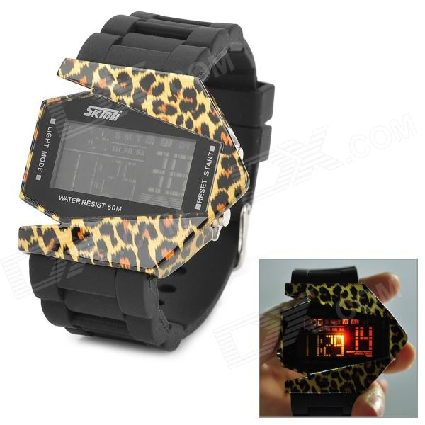 SKMEI 0982A Fashion Bomber Style Leopard Pattern LED Digital Wrist Watch - Black + Yellow digital dial thickness gauge for plastic film paper