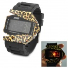 SKMEI 0982A Fashion Bomber Style Leopard Pattern LED Digital Wrist Watch - Black + Yellow