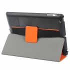 Multi-Function PU Leather Case/ Vent Holes / Sound Amplifier for Ipad 3 / 4 - Orange