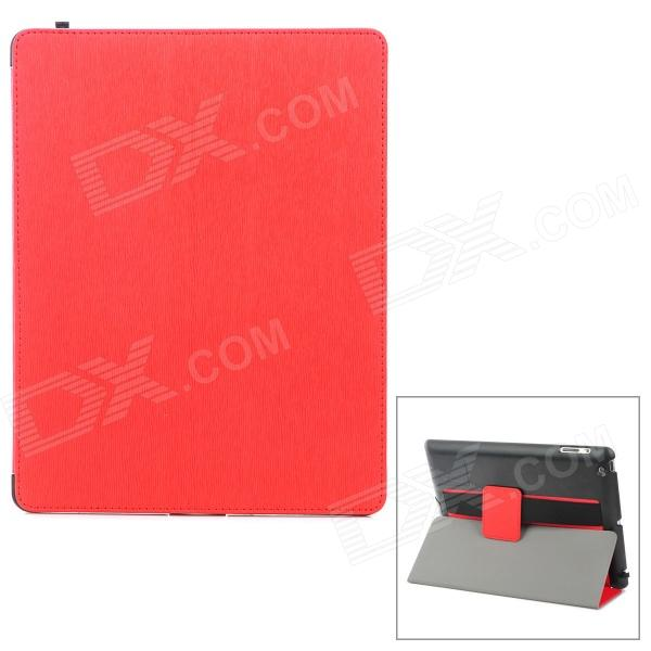 Multi-Function PU Leather Case/ Vent Holes / Sound Amplifier for Ipad 3 / 4 - Red multi function pu leather case vent holes sound amplifier for ipad 3 4 orange