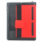 Multi-Function PU Leather Case/ Vent Holes / Sound Amplifier for Ipad 3 / 4 - Red