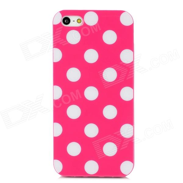 Fashionable Polka Dot Pattern Protective Silicone Back Case for Iphone 5 - Deep Pink raindrop pattern protective abs back case for iphone 5 transparent deep pink orange
