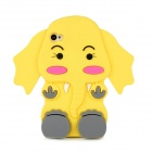 Cute Cartoon Elephant Style Protective Silicone Back Case for Iphone 4 / 4S - Yellow
