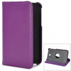 Fashionable Litchi Pattern PU Leather Case w/ 360' Rotating Holder for Samsung Galaxy Tab 3 - Purple