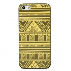 Fashionable Patterned Protective Plastic Back Case for iPhone 5 - Black + Yellow