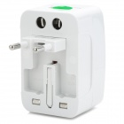 Compact 3-in-1 Power Adapter w/ Lock US + EU + UK Plug - White + Silver