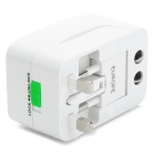 Compact 3-in-1 Power Adapter w/ US + EU + UK Plug - White + Silver
