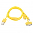USB 2.0 to 8-Pin Lightning / 30-Pin / Micro USB Charging Cable for iPhone / Samsung - Yellow