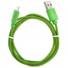 USB to 8-Pin Lightning Data / Charging Nylon Cable for iPhone 5 / iPad 4 / Mini - Green