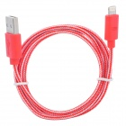 USB to 8-Pin Lightning Data / Charging Nylon Cable for iPhone 5 / iPad 4 / Mini - Red