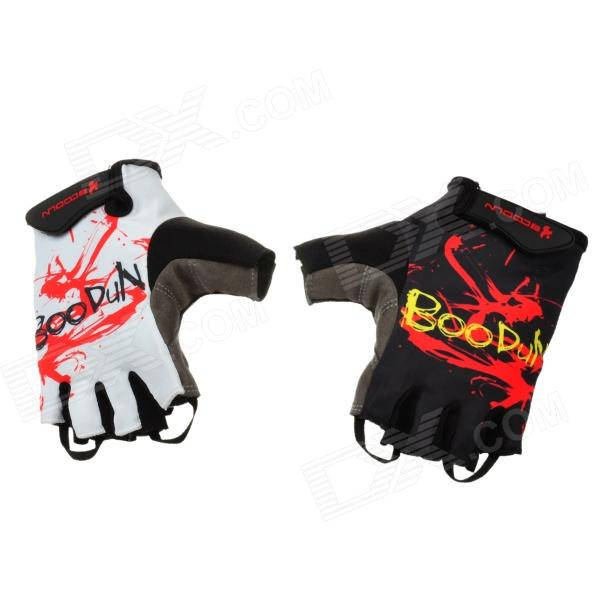 Outdoor Sports Anti-Shock Neoprene Half-Finger Cycling Gloves - Black + White (Size L)