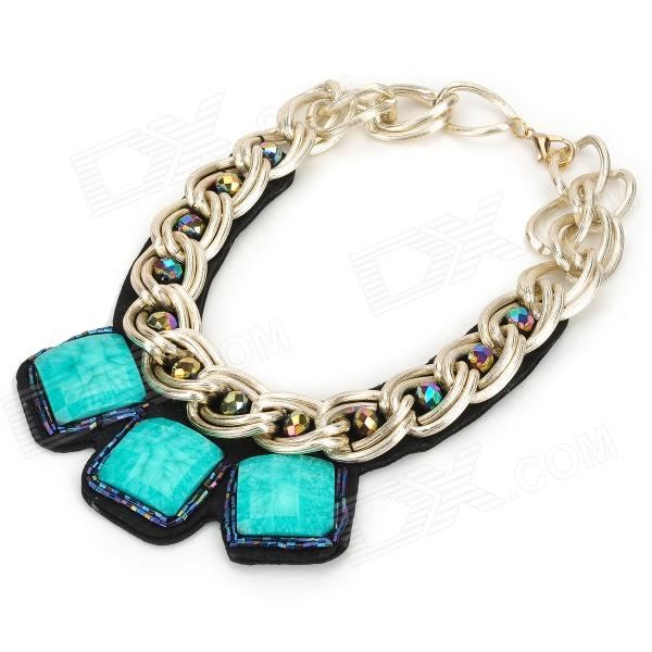 Square Green Rhinestone Zinc Alloy Decoration Collar Necklace - Golden trendy multilayered resin and golden square charm fake collar necklace for women