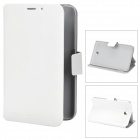 Simple Stylish Flip-open PU Leather Case w/ Holder & Card Slot for Samsung Galaxy Tab 3 - White